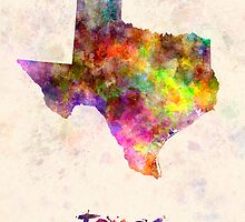 Texas US state in watercolor by paulrommer