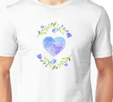 Folk Art Heart Blue Watercolor Unisex T-Shirt