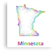 Rainbow Minnesota map Canvas Print