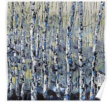 Winter Birch lll by Lisa Elley. Palette knife painting in oil Poster