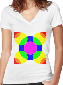 Rainbow Bubbles Women's Fitted V-Neck T-Shirt