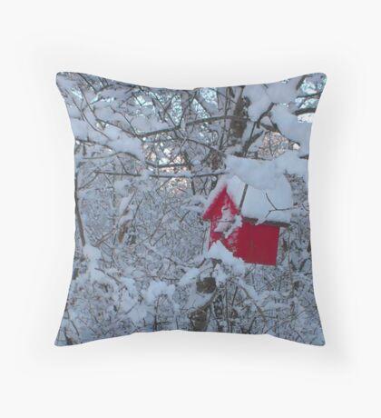 bird house in winter Throw Pillow