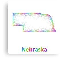 Rainbow Nebraska map Canvas Print