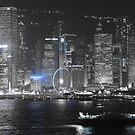 Hong kong Harbour Blue Night by mikequigley