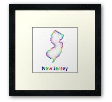 Rainbow New Jersey map Framed Print