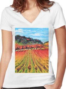 Napa Valley by Lisa Elley. Palette knife painting in oil. Women's Fitted V-Neck T-Shirt