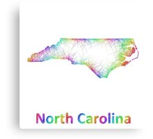 Rainbow North Carolina map Canvas Print