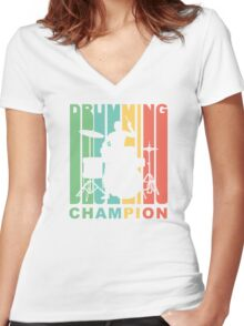 Drumming Champion Women's Fitted V-Neck T-Shirt
