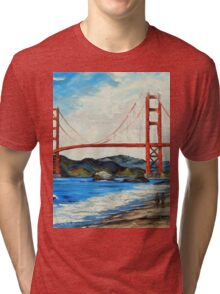 Golden Gate ll by Lisa Elley. Palette knife painting in oil Tri-blend T-Shirt