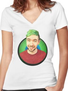 Jacksepticeye in eye Women's Fitted V-Neck T-Shirt