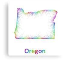 Rainbow Oregon map Canvas Print