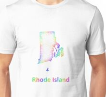 Rainbow Rhode Island map Unisex T-Shirt