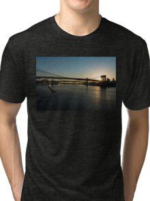 Soaring - Brooklyn Bridge Sunrise with a Seagull Tri-blend T-Shirt