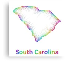 Rainbow South Carolina map Canvas Print