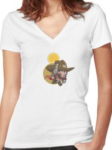 It's High Chibi-Moon Women's Fitted V-Neck T-Shirt
