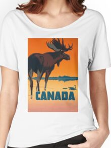 Vintage Travel Poster - Canadian Moose Women's Relaxed Fit T-Shirt
