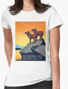 Vintage Travel Poster - National Parks Womens Fitted T-Shirt