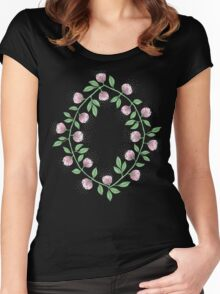 Pink Flower Vine Women's Fitted Scoop T-Shirt