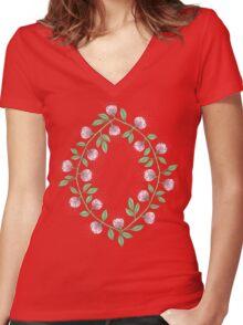 Pink Flower Vine Women's Fitted V-Neck T-Shirt