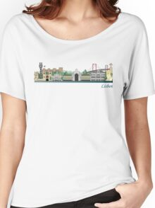 Lisbon skyline colored Women's Relaxed Fit T-Shirt