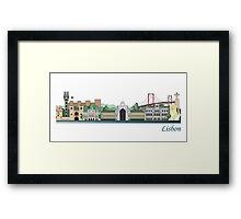 Lisbon skyline colored Framed Print