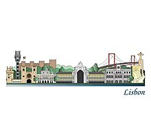 Lisbon skyline colored Photographic Print