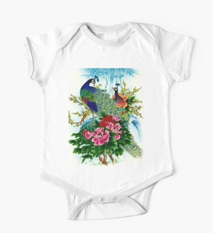 """PEACOCKS IN PARADISE: Art Deco Print One Piece - Short Sleeve"