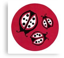 Retro Ladybugs Vintage Insects Red Black & White Bugs Canvas Print