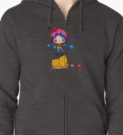 Skater Girl Ollies Over Ice Cream Cone Zipped Hoodie