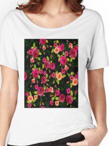 """""""BRIGHT ROSE GARDEN"""" Art Deco Print Women's Relaxed Fit T-Shirt"""