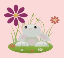 Little Green Baby Bunny With Flowers Baby Tee