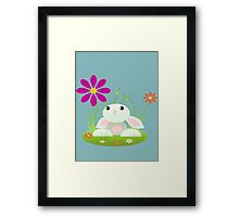 Little Green Baby Bunny With Flowers Framed Print