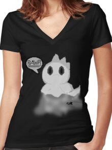 Ghost Dino pixel Women's Fitted V-Neck T-Shirt