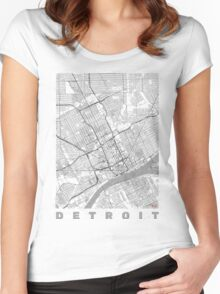 Detroit Map Line Women's Fitted Scoop T-Shirt
