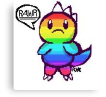 Rainbow Dino pixel Canvas Print