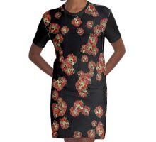Skull Roses Random Fill Pattern Graphic T-Shirt Dress