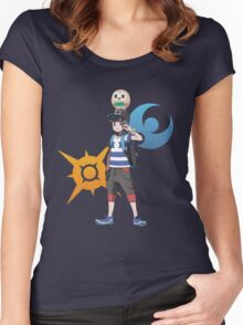 Pokémon Sun and Pokémon Moon - Trainer (Male) w/ Sun and Moon Logo and Rowlet Women's Fitted Scoop T-Shirt