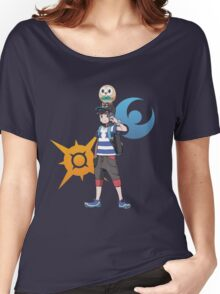 Pokémon Sun and Pokémon Moon - Trainer (Male) w/ Sun and Moon Logo and Rowlet Women's Relaxed Fit T-Shirt