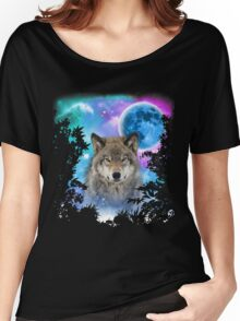 Timber Wolf MidNight Forest Women's Relaxed Fit T-Shirt