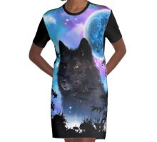 Black Wolf MidNight Forest Graphic T-Shirt Dress