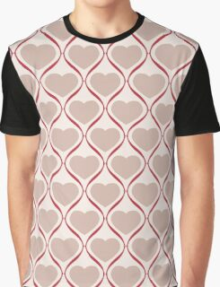Ogee Heart Mocha: Bone Red Graphic T-Shirt