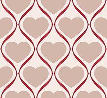 Ogee Heart Mocha: Bone Red Photographic Print