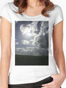 Dramatic sky at Chaddesley Women's Fitted Scoop T-Shirt