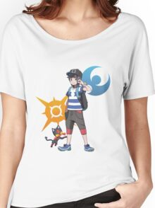 Pokémon Sun and Pokémon Moon - Trainer (Male) w/ Sun and Moon Logo and Litten Women's Relaxed Fit T-Shirt