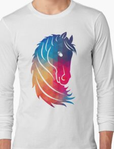 Abstract Colorful Horse Head Illustration Long Sleeve T-Shirt