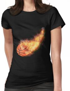 Flaming Basketball Womens Fitted T-Shirt