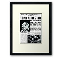 Toad Arrested Newspaper Framed Print