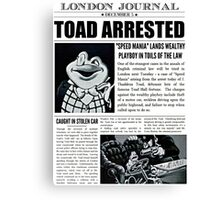 Toad Arrested Newspaper Canvas Print