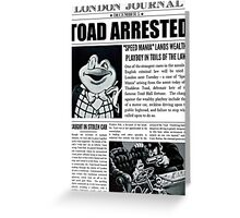 Toad Arrested Newspaper Greeting Card
