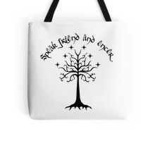 Speak friend and enter , Black Tote Bag